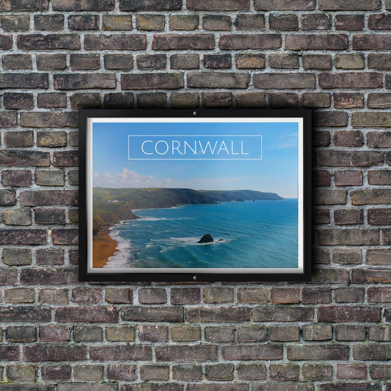 297mmx420mm Drone shot Cornwall beach aerial view A3 Glossy Poster