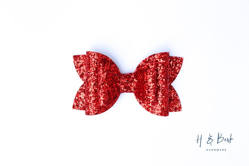 Christmas Bows Diva /& Siren Bows Gift for kid Baby Bow Faux Leather Bows Girl Bow Red Chunky Glitter Hair Bow