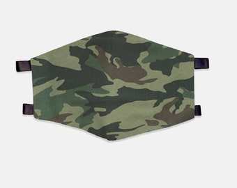 Camouflage Fabric Face Mask 100% Cotton with Stretch Loops