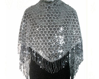 Women's Silver Fringed Sparkly Poncho | Wrap | Scarf | Shawl | Cape for Evening Dresses