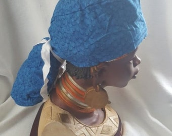 Ponytail Scrub Cap For Women, Handmade, 100% Cotton, Medical Surgical Hat, Bouffant- Blue