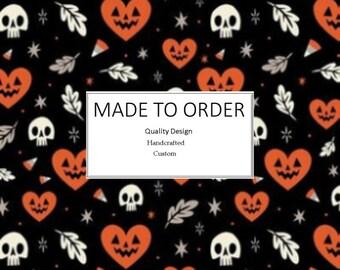 I Heart (Love) Halloween Scrub Cap, Handmade, 100% Cotton, Breathable, Traditional, Bouffant or Ponytail