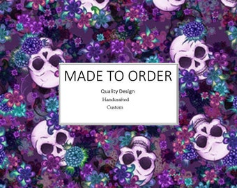 Purple Flowers and Skulls  - Scrub Cap, Handmade, 100% Cotton, Breathable, Traditional, Bouffant or Ponytail