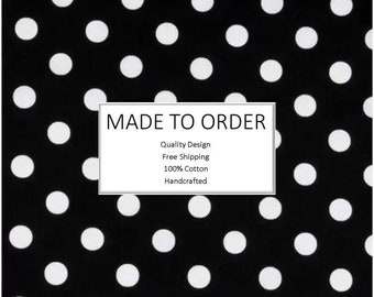 Scrub Cap & Face Mask Set, Handmade, 100% Cotton, Breathable, Unisex - Large Dots on Black