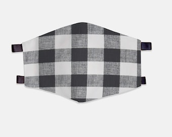 White/Black Plaid Fabric Face Mask 100% Cotton with Stretch Loops