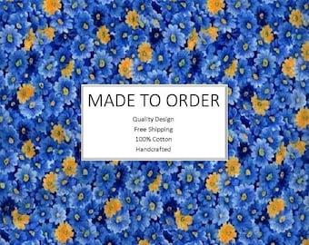 Pleated Skirt | High Waisted | Flared | Skater | Preppy | Vintage Skirt | A Line Skirt | -Blue Packed Floral