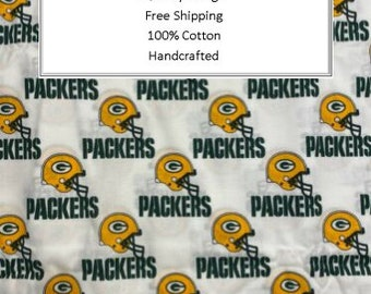 Breathable Fabric Face Mask   Made To Order   Custom Handcrafted   100% Cotton with Stretch Ear Loops - Green Bay Packers