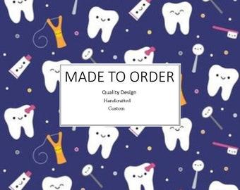 Happy Teeth Scrub Cap, Handmade, 100% Cotton, Breathable, Traditional, Bouffant or Ponytail