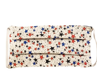 Handmade 100% Cotton Cloth Face Mask Reusable, Breathable Airborne Particle Protection - Red, Blue & Black Stars on White