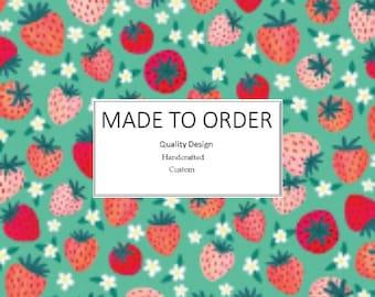 Strawberry Shortcake - Scrub Cap, Handmade, 100% Cotton, Breathable, Traditional, Bouffant or Ponytail