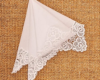Handmade Crocheted Lace Ladies Womens Handkerchief | 100% Soft Cotton | Reusable Tissues | Paperless Hankies