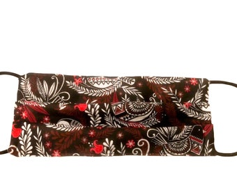Handmade 100% Cotton Cloth Face Mask Reusable, Breathable Airborne Particle Protection - Red Black Paisley Bird