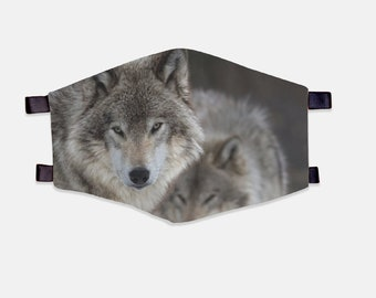Grey Wolf Fabric Face Mask 100% Cotton with Stretch Loops