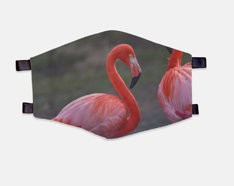 Flamingo Fabric Face Mask 100% Cotton with Stretch Loops