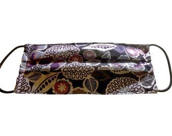 Handmade 100% Cotton Cloth Face Mask Reusable, Breathable Airborne Particle Protection - Floral Violet Purple
