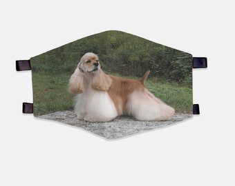 Cocker Spaniel Fabric Face Mask 100% Cotton with Stretch Loops