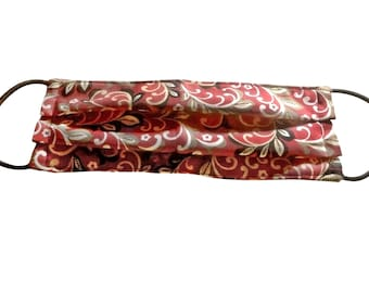 Handmade Cloth Face Cover Reusable, Breathable Airborne Particle Protection - Red Vine Floral