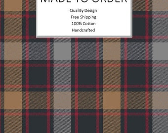 Breathable Fabric Face Mask | Made To Order | Custom Handcrafted | 100% Cotton with Stretch Ear Loops - Brown Red Plaid