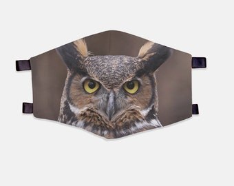 Owl Fabric Face Mask 100% Cotton with Stretch Loops