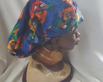 Bouffant Scrub Cap For Women, Handmade, 100% Cotton, Medical Surgical Hat, Bouffant- Children on Blue