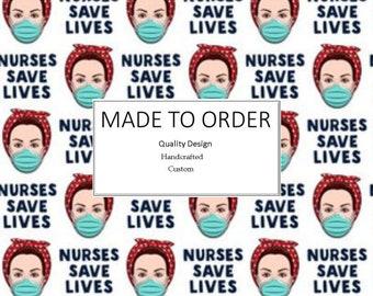 Nurses Save Lives Nurse Headband with Button Attachment, Non-Slip, Washable, Made-To-Order, Ear Saver Custom Headband