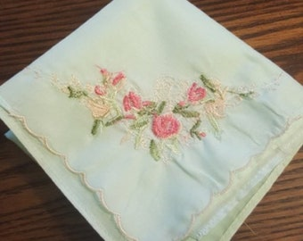 Handmade Embroidered Ladies Womens Handkerchief | 100% Soft Cotton | Scalloped Edges | Floral Design| Reusable Tissues | Paperless Hankies