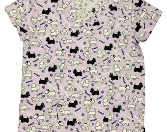 Medical Surgical Printed Unisex Mens Womens Scrub Top XS - 4XL || Lavendar with Black White Dogs