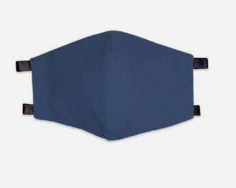 Navy Blue Fabric Face Mask 100% Cotton with Stretch Loops