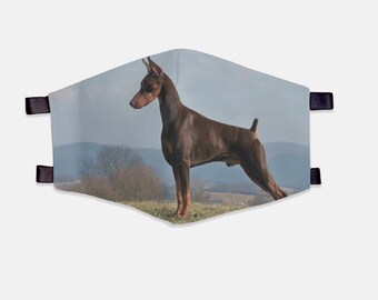 Doberman Fabric Face Mask 100% Cotton with Stretch Loops