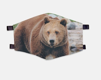 Grizzly Bear Fabric Face Mask 100% Cotton with Stretch Loops