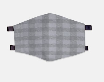Grey Plaid Fabric Face Mask 100% Cotton with Stretch Loops