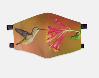 Hummingbird Fabric Face Mask 100% Cotton with Stretch Loops