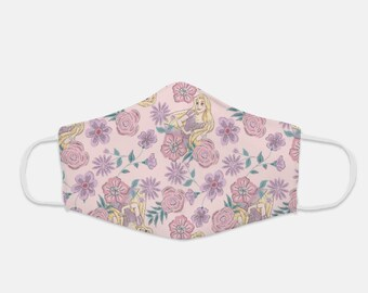 Fabric Face Mask 100% Cotton with Stretch Ear Loops - Rapunzel Floral