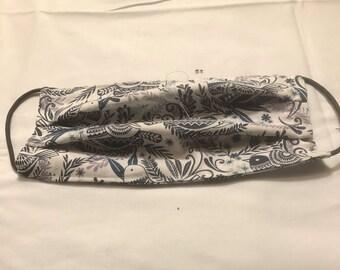 Blue Gray Paisley Cloth Face Mask, 100% Cotton, Reusable, Washable, Breathable