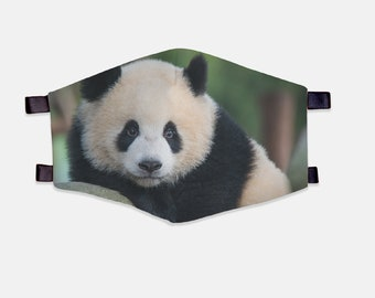 Giant Panda Fabric Face Mask 100% Cotton with Stretch Loops