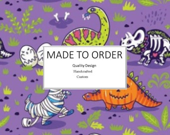 Halloween Dinosaur Scrub Cap, Handmade, 100% Cotton, Breathable, Traditional, Bouffant or Ponytail