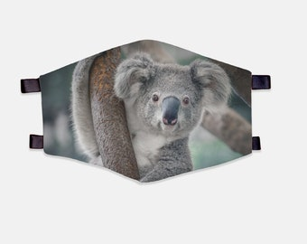 Koala Bear Fabric Face Mask 100% Cotton with Stretch Loops
