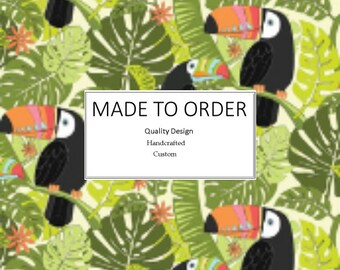 Toucans- Scrub Cap, Handmade, 100% Cotton, Breathable, Traditional, Bouffant or Ponytail
