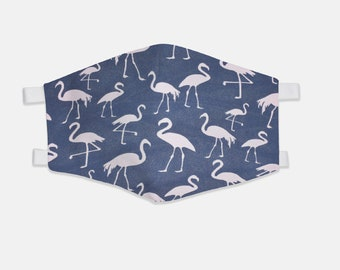 Blue Flamingo Fabric Face Mask 100% Cotton with Stretch Loops