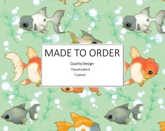 Fancy Goldfish - Scrub Cap, Handmade, 100% Cotton, Breathable, Traditional, Bouffant or Ponytail