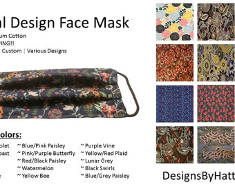 FLORAL PATTERN MASK - Cotton Face Cover - Custom Design Mask - Airborne Protection - Elastic Facemask - Protective Mask - Washable Facemask