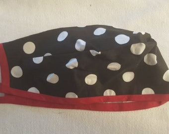 Handmade Medical Surgical Scrub Cap - Black with White Polka Dots and Red Trim