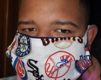 Handmade 100% Cotton Cloth Face Mask Reusable, Breathable Airborne Particle Protection - MLB Baseball
