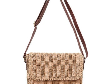 Straw Crossbody Bag Vintage Handmade Shoulder Pack Handbag