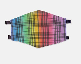 Rainbow Plaid Fabric Face Mask 100% Cotton with Stretch Loops
