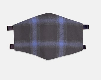 Blue/Black Plaid Fabric Face Mask 100% Cotton with Stretch Loops