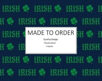 Notre Dame Irish Green Shamrock - Scrub Cap, Handmade, 100% Cotton, Breathable, Traditional, Bouffant or Ponytail