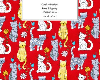 Breathable Fabric Face Mask | Made To Order | Custom Handcrafted | 100% Cotton with Stretch Ear Loops - Cats On Red