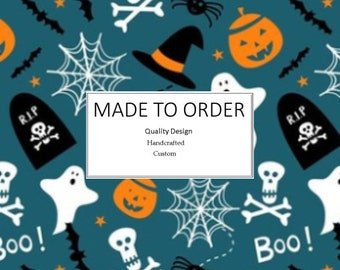 Scary Halloween Boo! Scrub Cap, Handmade, 100% Cotton, Breathable, Traditional, Bouffant or Ponytail