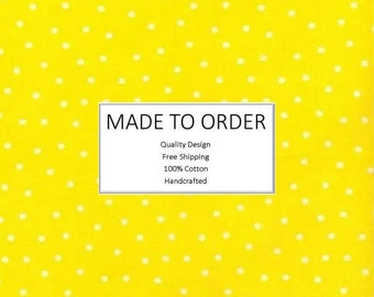 Scrub Cap & Face Mask Set, Handmade, 100% Cotton, Breathable, Unisex - Polka Dots on Yellow